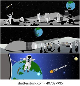Moon space station vector illustration.