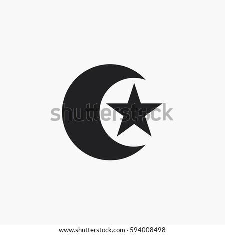 Moon Star Icon Islam Symbol Stock Vector Royalty Free 594008498