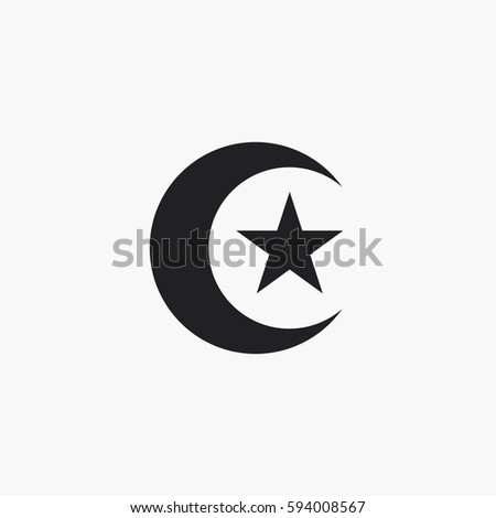 Moon Star Icon Islam Symbol Stock Vector Royalty Free 594008567