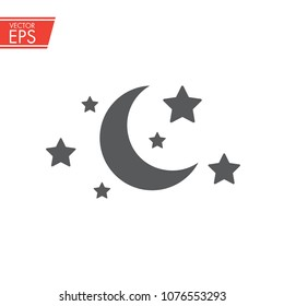 Moon star icon. Sleep symbol. Night dream sign. Sleep mode and Standby mode label. Goodnight mark. Bedtime logo.