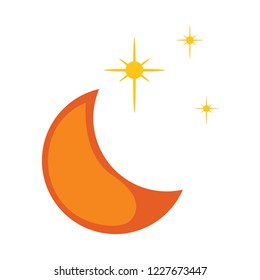 moon star icon. Moon and stars, yellow sleep icon. Vector illustration
