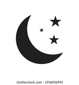 Moon and star icon vector for your web design, logo, UI. illustration