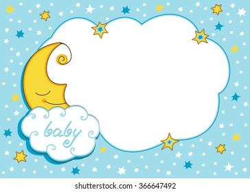 moon and stars - baby photo frame. Vector cartoon illustration.