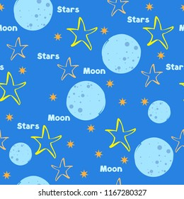 moon stars blue yellow orange seamless background pattern