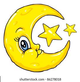 Moon and Stars Cartoon