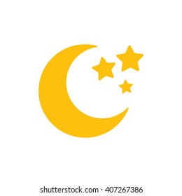Moon and stars closeup. Abstract moon. Yellow moon and stars isolated on white background. Vector icon