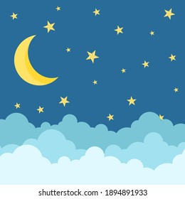 moon stars and clouds cartoon on blue background.