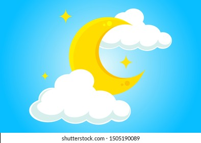 Moon, stars and clouds. Design by Inkscape.