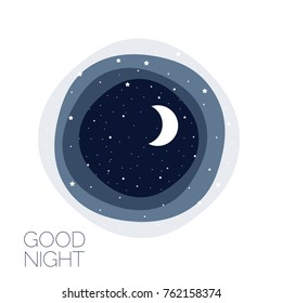 Moon and stars. Concept idea. Good night logo. Vector illustration. EPS 8