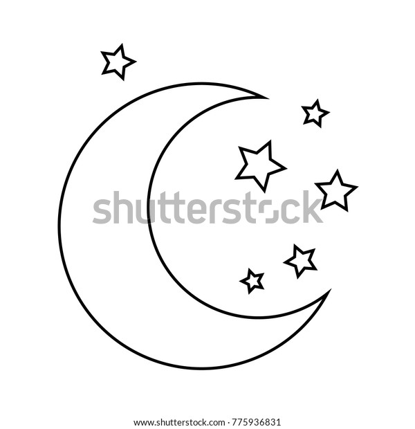 Moon Stars Drawing Coloring Pages Kids Stock Vector Royalty