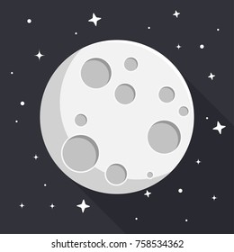 moon with stars flat design icon
