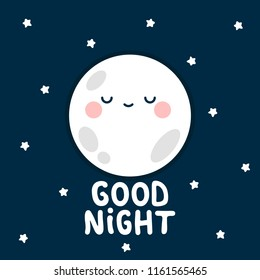 moon, stars with good night text. White handmade phrase on the night background. vector handdrawn lettering banner design.