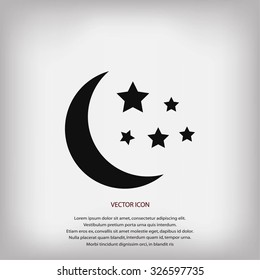 Moon and stars at icon