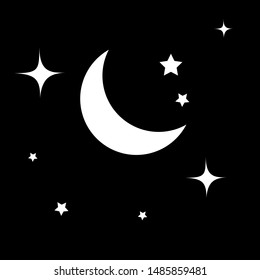 Moon and stars icon isolated. Flat design. Vector Illustration.