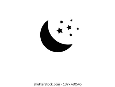 Moon and stars icon. Isolated of Moon and stars. Flat design. Vector Illustration. Clear night with moon and stars icon . Night design. Vector EPS 10