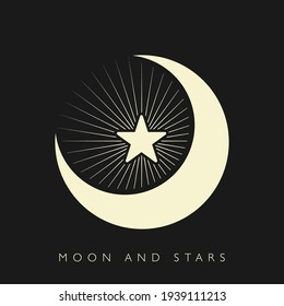 Moon and stars icon isolated. Flat design. Vector Illustration.Night with moon and stars icon in flat style. Night symbol for your web site design, logo. Vector EPS 10.