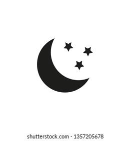 Moon and stars icon. Minimal vector illustration. Flat design