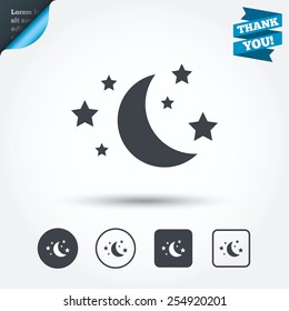 Moon and stars icon. Sleep dreams symbol. Night or bed time sign. Circle and square buttons. Flat design set. Thank you ribbon. Vector