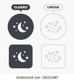 Moon and stars icon. Sleep dreams symbol. Night or bed time sign. Classic and line web buttons. Circles and squares. Vector