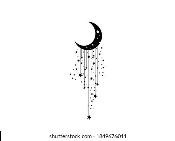 Moon and stars Icon Vector illustration. Boho Witch and Magic symbol. mystic art sign, emblem isolated on white background, Flat style for graphic and web design, logo, sticker, tattoo