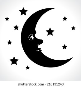 Moon and stars isolated on white background. Vector illustration.