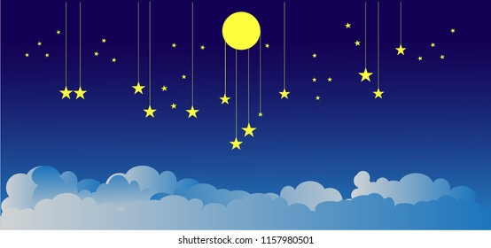 The  moon and stars in midnight .paper art style.Present Card in Night theme Moon Stars with copy space. Insomnia concept ,Vector illustration. EPS 10.