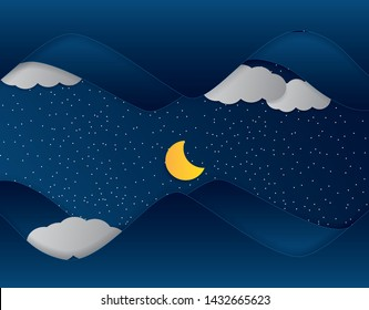 moon and stars in midnight .paper art style