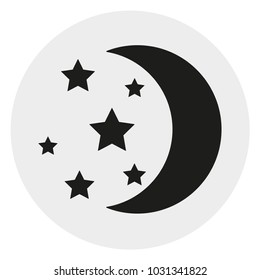 Moon with stars silhouette abstract web icon