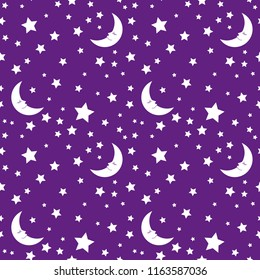 The moon with stars. Sky at the night. Violet background.