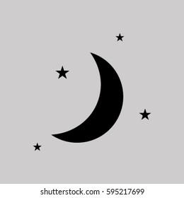 Moon & stars. vector icon
