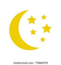 Moon and stars, yellow sleep icon. Vector illustration