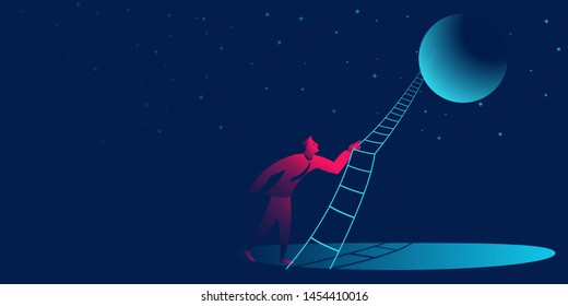 to the moon. success, businessman journey business concept in red and blue neon gradients. vector illustration