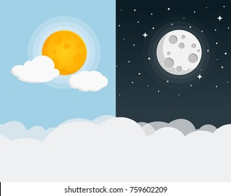 moon and sun flat design icon
