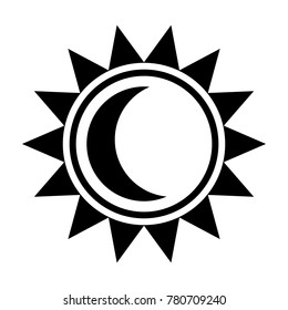 Moon and sun icon. Black sign in flat style isolated on white background. The moon is inside the sun. Line symbol for website design, app, ui. Vector illustration