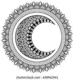 Moon and sun with mandala ornament. Hand drawn. Ethnic Mandala ornament. Oriental pattern, Islam, Arabic, Indian motifs.