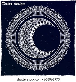 Moon and sun with mandala ornament. Illustration isolated on the background of the night starry sky. Hand drawn. Ethnic Mandala ornament. Oriental pattern, Islam, Arabic, Indian motifs.