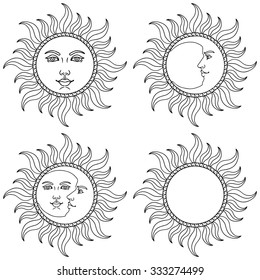Moon and Sun. Vector illustration.