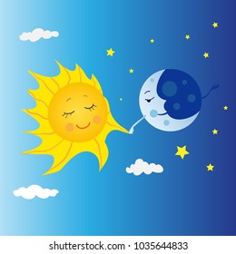 The moon and the sun are walking together. Time in the year when the duration of the day and night is the same. The day of celebrating Nauryz.