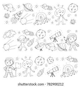 Moon surface. Kindergarten children play space exploration. Alien, ufo, spaceship. rocket. Children, boys and girls with moon, mars, saturn, jupiter