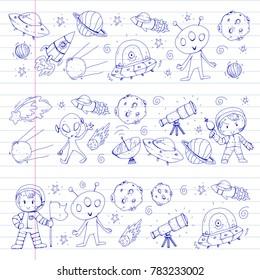 Moon surface. Kindergarten children play space exploration. Alien, ufo, spaceship. rockets. Children, boys and girls with moon, mars, saturn, jupiter