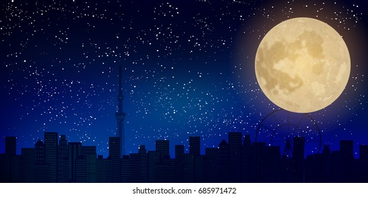 Moon Tokyo Tokyo night background