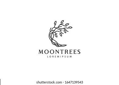 moon tree logo. illustration of a tree with stems and roots that make up the moon. vector line icon template