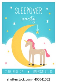 Moon and Unicorn Sleepover Kids Party Card