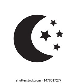 Moon vector icon on background.