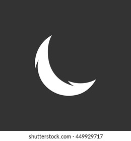Moon vector logo isolated on a black background. Icon silhouette design template. Simple symbol concept in flat style. Abstract sign, pictogram for web, mobile and infographics