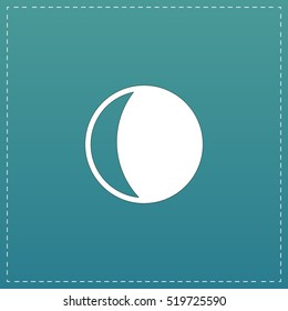 Moon. White flat icon with black stroke on blue background