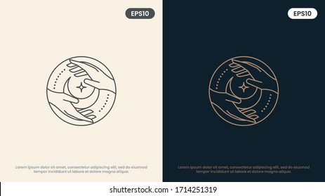 moon and woman hands in various gestures. Modern minimal linear template logos or emblems. Abstract symbol for massage, cosmetics and packaging or beauty products. Vector Illustration.