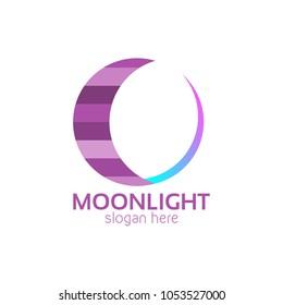 Moonlight Icon Logo Design Template. Moon Vector Illustration on White Background
