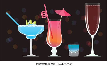 Moonlight Margarita, Mai Tai ,Blue Kamikaze , Rose wine glass  cocktails  on black mirrored background with bokeh. Vector illustration for web and print,  party invitation or menu decoration