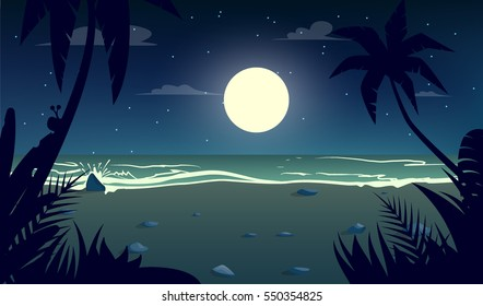 moonlight night at the beach.Cartoon style.Vector illustration